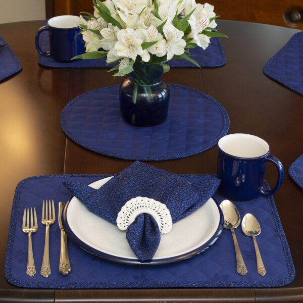 Sweet Pea Linens - Dark Royal Blue Cobblestone Quilted Jacquard Rectangle Placemats - Set of Two (SKU#: RS2-1001-Y30) - Alternate Table Setting