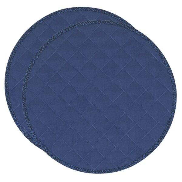 Sweet Pea Linens - Dark Royal Blue Cobblestone Quilted Jacquard Charger-Center Round Placemats - Set of Two (SKU#: RS2-1015-Y30) - Product Image