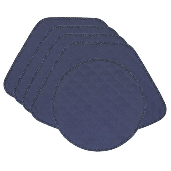 Sweet Pea Linens - Dark Royal Blue Cobblestone Quilted Jacquard Wedge-Shaped Placemats - Set of Four plus Center Round-Charger (SKU#: RS5-1006-Y30) - Product Image