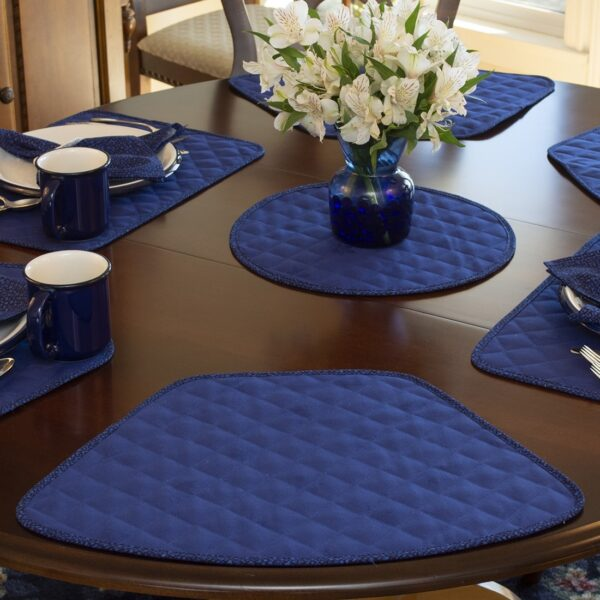 Sweet Pea Linens - Dark Royal Blue Cobblestone Quilted Jacquard Wedge-Shaped Placemats - Set of Four plus Center Round-Charger (SKU#: RS5-1006-Y30) - Table Setting
