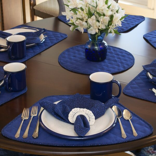 Sweet Pea Linens - Dark Royal Blue Cobblestone Quilted Jacquard Wedge-Shaped Placemats - Set of Four plus Center Round-Charger (SKU#: RS5-1006-Y30) - Alternate Table Setting
