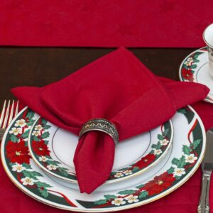 Sweet Pea Linens - Solid Red Rolled Hem Jacquard Cloth Napkin (SKU#: R-1010-Y4) - Table Setting