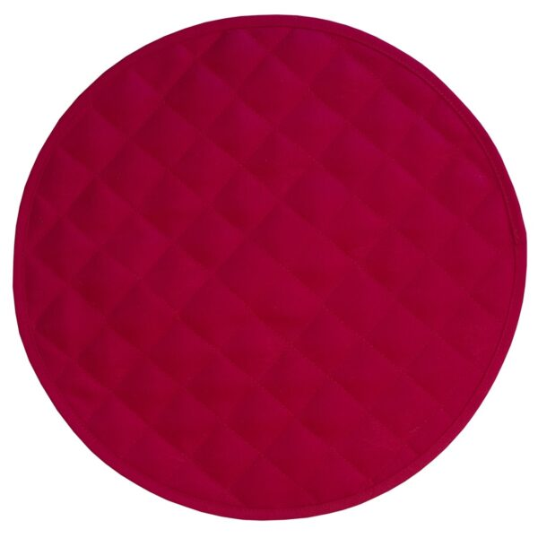 Sweet Pea Linens - Solid Red Quilted Jacquard Charger-Center Round Placemat (SKU#: R-1015-Y4) - Product Image