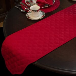 Sweet Pea Linens - Solid Red Quilted Jacquard 72 inch Table Runner (SKU#: R-1024-Y4) - Table Setting