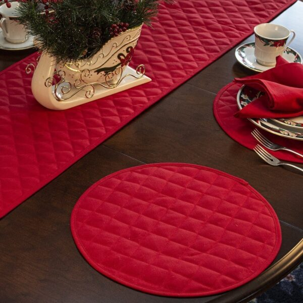 Sweet Pea Linens - Solid Red Quilted Jacquard 72 inch Table Runner (SKU#: R-1024-Y4) - Alternate Table Setting