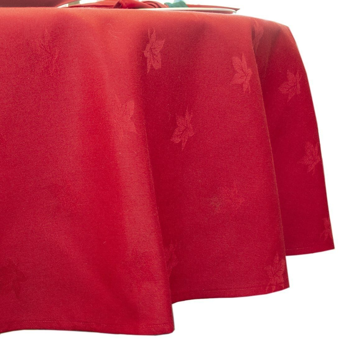 Sweet Pea Linens - Solid Red Jacquard 90 inch Round Table Cloth (SKU#: R-1065-Y4) - Product Image
