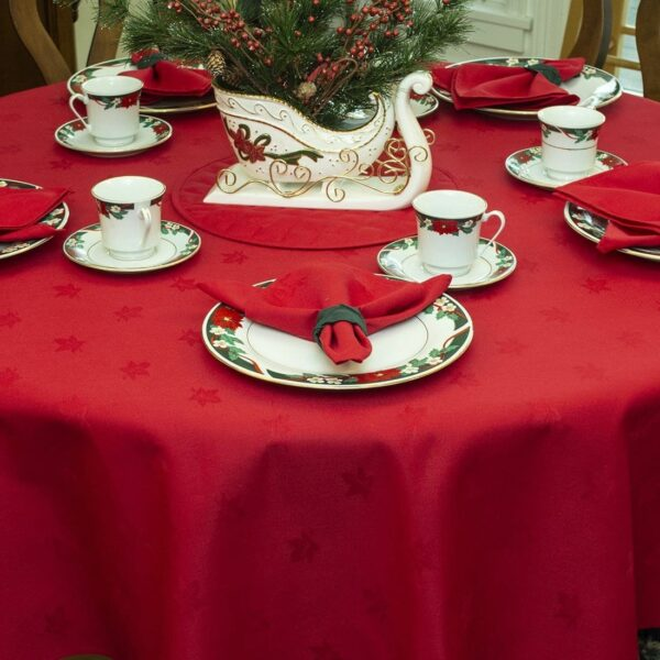 Sweet Pea Linens - Solid Red Jacquard 90 inch Round Table Cloth (SKU#: R-1065-Y4) - Table Setting