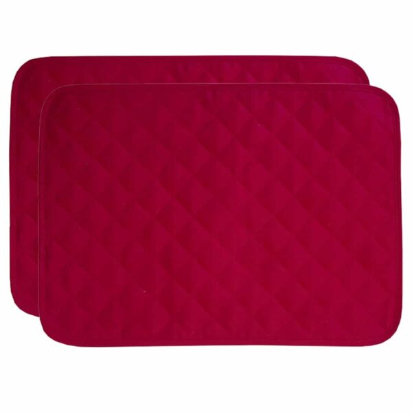 Sweet Pea Linens - Solid Red Quilted Jacquard Rectangle Placemats - Set of Two (SKU#: RS2-1001-Y4) - Product Image