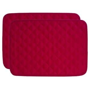 Sweet Pea Linens - Red Cobblestone Quilted Jacquard Rectangle Placemats - Set of Two (SKU#: RS2-1001-Y40) - Product Image