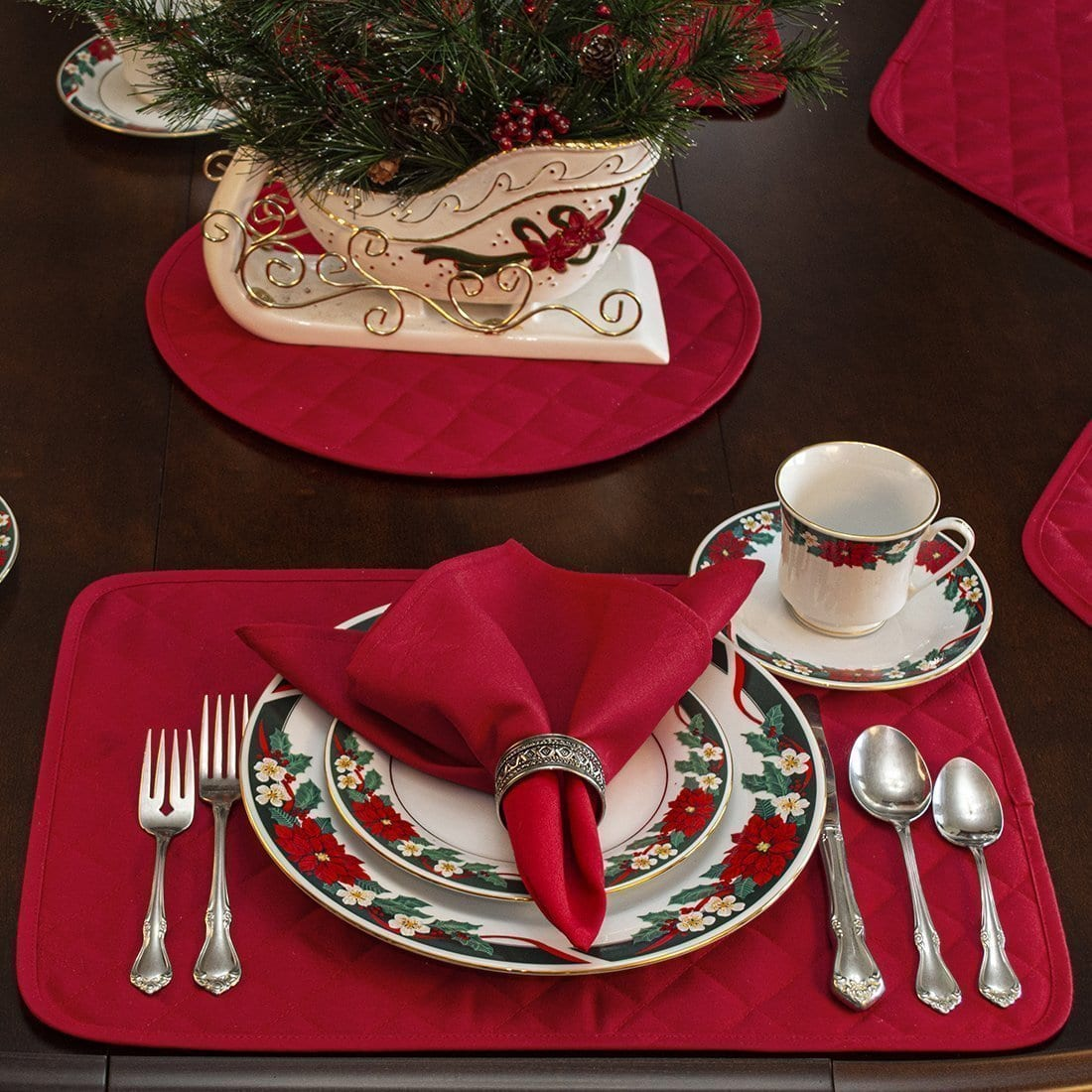 Sweet Pea Linens - Solid Red Rolled Hem Jacquard Cloth Napkins - Set of Four (SKU#: RS4-1010-Y4) - Alternate Table Setting