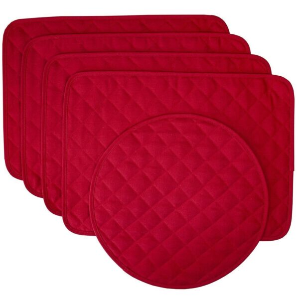 Sweet Pea Linens - Solid Red Quilted Jacquard Rectangle Placemats - Set of Four plus Center Round-Charger (SKU#: RS5-1001-Y4) - Product Image