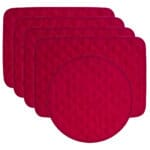 Sweet Pea Linens - Red Cobblestone Quilted Jacquard Rectangle Placemats - Set of Four plus Center Round-Charger (SKU#: RS5-1001-Y40) - Product Image