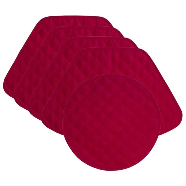 Sweet Pea Linens - Solid Red Quilted Jacquard Wedge-Shaped Placemats - Set of Four plus Center Round-Charger (SKU#: RS5-1006-Y4) - Product Image