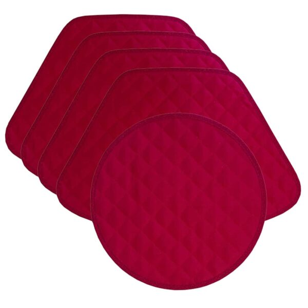 Sweet Pea Linens - Red Cobblestone Quilted Jacquard Wedge-Shaped Placemats - Set of Four plus Center Round-Charger (SKU#: RS5-1006-Y40) - Product Image