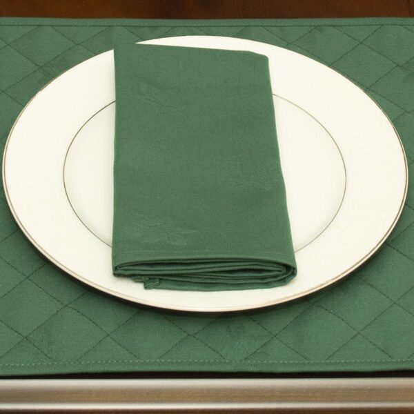 Sweet Pea Linens - Solid Green Rolled Hem Jacquard Cloth Napkin (SKU#: R-1010-Y5) - Table Setting