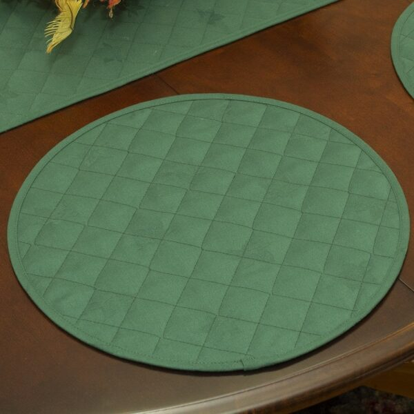 Sweet Pea Linens - Solid Green Quilted Jacquard Charger-Center Round Placemat (SKU#: R-1015-Y5) - Table Setting