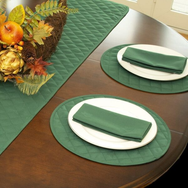 Sweet Pea Linens - Solid Green Quilted Jacquard Charger-Center Round Placemat (SKU#: R-1015-Y5) - Alternate Table Setting