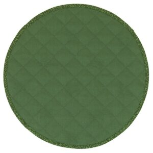 Sweet Pea Linens - Green Cobblestone Quilted Jacquard Charger-Center Round Placemat (SKU#: R-1015-Y50) - Product Image