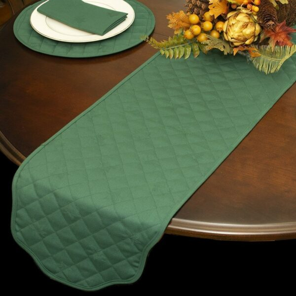 Sweet Pea Linens - Solid Green Quilted Jacquard 72 inch Table Runner (SKU#: R-1024-Y5) - Table Setting