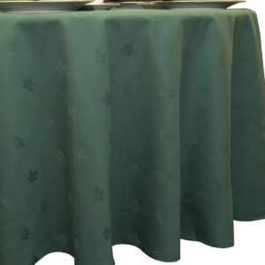 Sweet Pea Linens - Solid Green Jacquard 70 inch Round Table Cloth (SKU#: R-1064-Y5) - Product Image