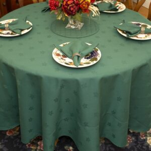 Sweet Pea Linens - Solid Green Jacquard 70 inch Round Table Cloth (SKU#: R-1064-Y5) - Table Setting
