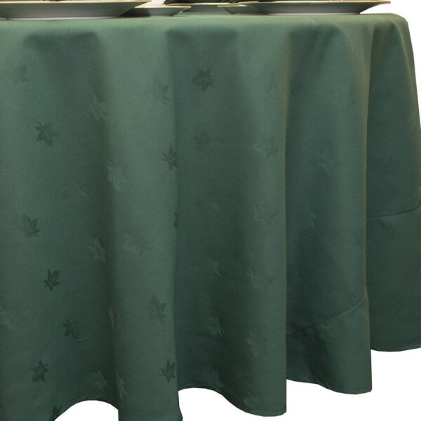 Sweet Pea Linens - Solid Green Jacquard 90 inch Round Table Cloth (SKU#: R-1065-Y5) - Product Image