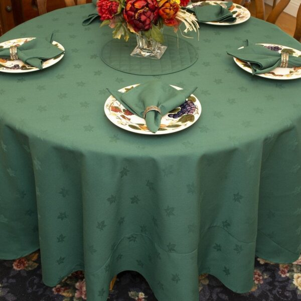 Sweet Pea Linens - Solid Green Jacquard 90 inch Round Table Cloth (SKU#: R-1065-Y5) - Table Setting
