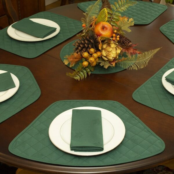 Sweet Pea Linens - Solid Green Quilted Jacquard Wedge-Shaped Placemats - Set of Two (SKU#: RS2-1006-Y5) - Alternate Table Setting
