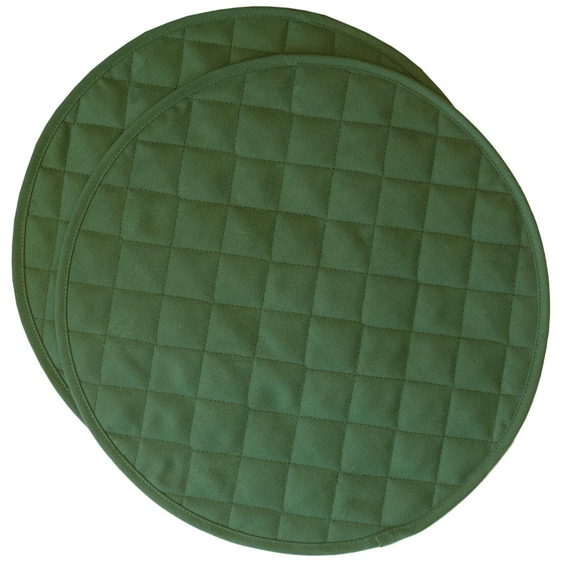 Sweet Pea Linens - Solid Green Quilted Jacquard Charger-Center Round Placemats - Set of Two (SKU#: RS2-1015-Y5) - Product Image