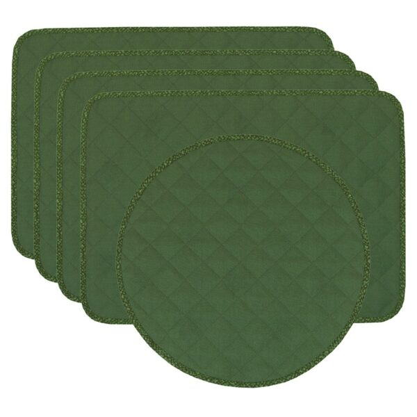 Sweet Pea Linens - Green Cobblestone Quilted Jacquard Rectangle Placemats - Set of Four plus Center Round-Charger (SKU#: RS5-1001-Y50) - Product Image