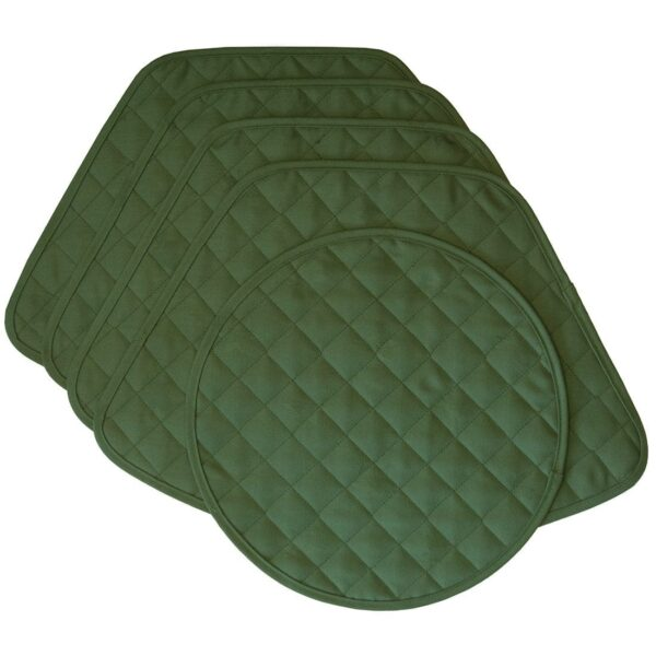 Sweet Pea Linens - Solid Green Quilted Jacquard Wedge-Shaped Placemats - Set of Four plus Center Round-Charger (SKU#: RS5-1006-Y5) - Product Image