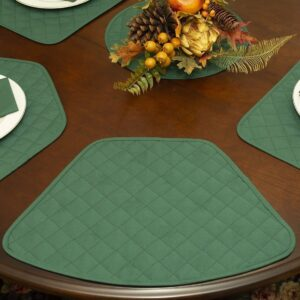 Sweet Pea Linens - Solid Green Quilted Jacquard Wedge-Shaped Placemats - Set of Four plus Center Round-Charger (SKU#: RS5-1006-Y5) - Table Setting