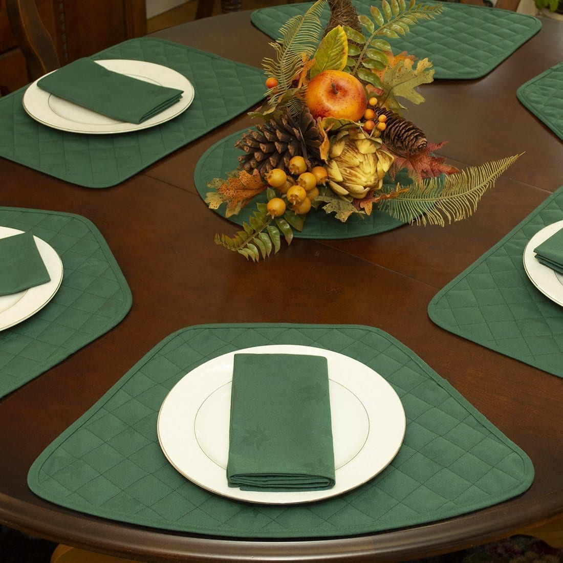 Sweet Pea Linens - Solid Green Quilted Jacquard Wedge-Shaped Placemats - Set of Four plus Center Round-Charger (SKU#: RS5-1006-Y5) - Alternate Table Setting