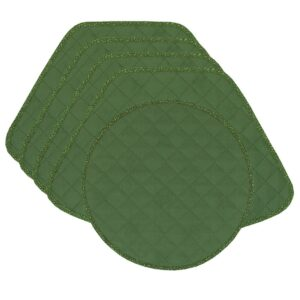 Sweet Pea Linens - Green Cobblestone Quilted Jacquard Wedge-Shaped Placemats - Set of Four plus Center Round-Charger (SKU#: RS5-1006-Y50) - Product Image