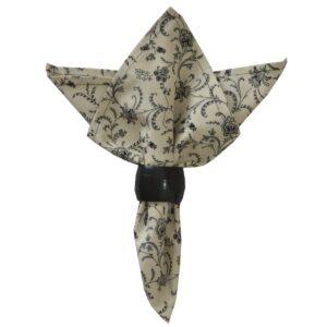 Sweet Pea Linens - Black, Off White Floral Print Vine Cloth Napkin (SKU#: R-1010-W32) - Product Image