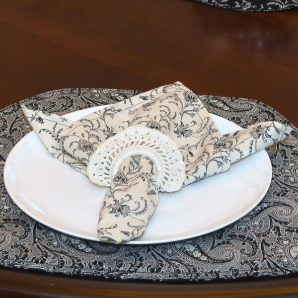 Sweet Pea Linens - Black, Off White Floral Print Vine Cloth Napkin (SKU#: R-1010-W32) - Table Setting