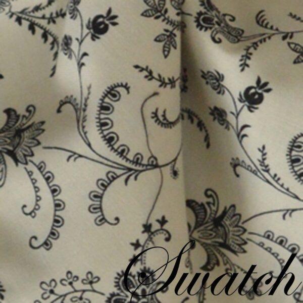 Sweet Pea Linens - Black, Off White Floral Print Vine Cloth Napkin (SKU#: R-1010-W32) - Swatch