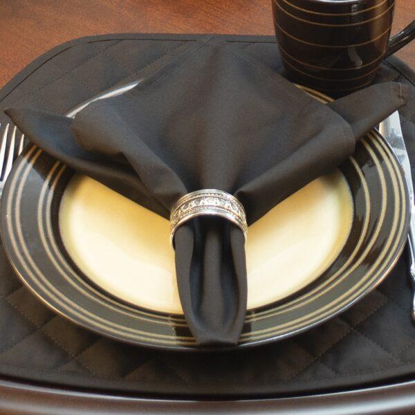 Sweet Pea Linens - Solid Black Rolled Hem Cloth Napkin (SKU#: R-1010-Y6) - Table Setting