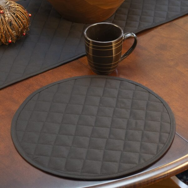 Sweet Pea Linens - Solid Black Quilted Charger-Center Round Placemat (SKU#: R-1015-Y6) - Table Setting