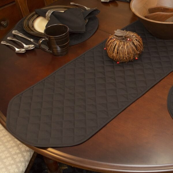 Sweet Pea Linens - Solid Black Quilted 60 inch Table Runner (SKU#: R-1021-Y6) - Table Setting