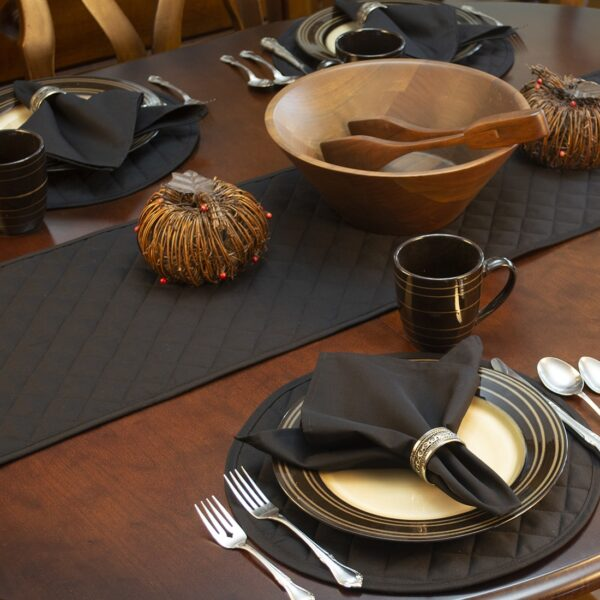Sweet Pea Linens - Solid Black Quilted 60 inch Table Runner (SKU#: R-1021-Y6) - Alternate Table Setting