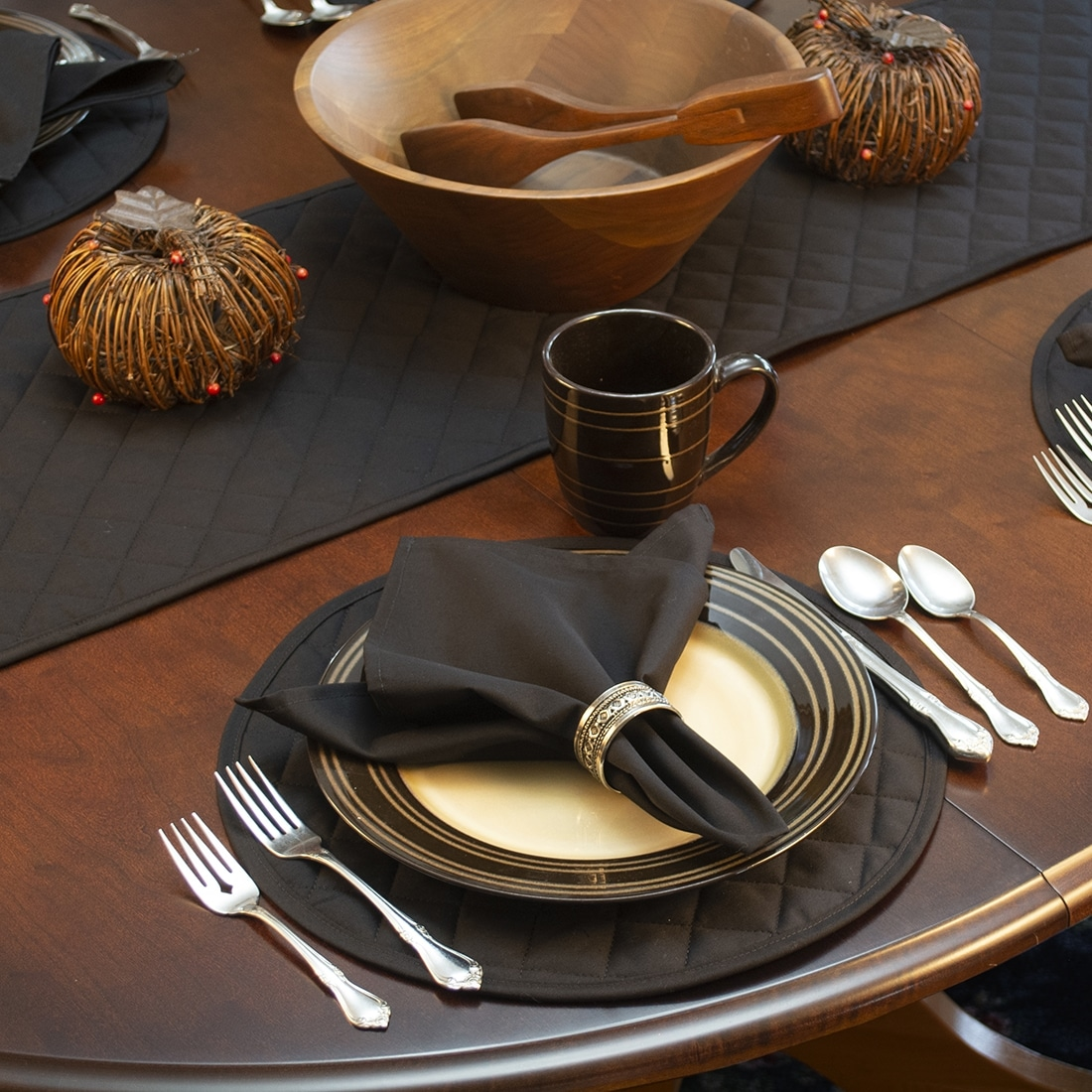 Sweet Pea Linens - Solid Black Quilted Charger-Center Round Placemats - Set of Two (SKU#: RS2-1015-Y6) - Alternate Table Setting