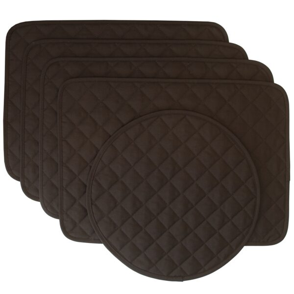 Sweet Pea Linens - Solid Black Quilted Rectangle Placemats - Set of Four plus Center Round-Charger (SKU#: RS5-1001-Y6) - Product Image