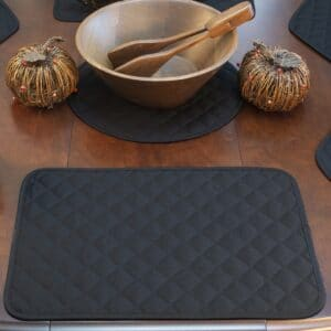 Sweet Pea Linens - Solid Black Quilted Rectangle Placemats - Set of Four plus Center Round-Charger (SKU#: RS5-1001-Y6) - Table Setting