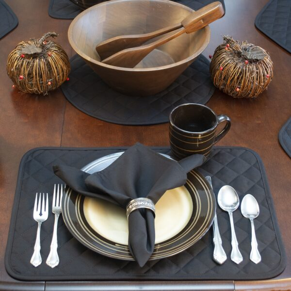 Sweet Pea Linens - Solid Black Quilted Rectangle Placemats - Set of Four plus Center Round-Charger (SKU#: RS5-1001-Y6) - Alternate Table Setting
