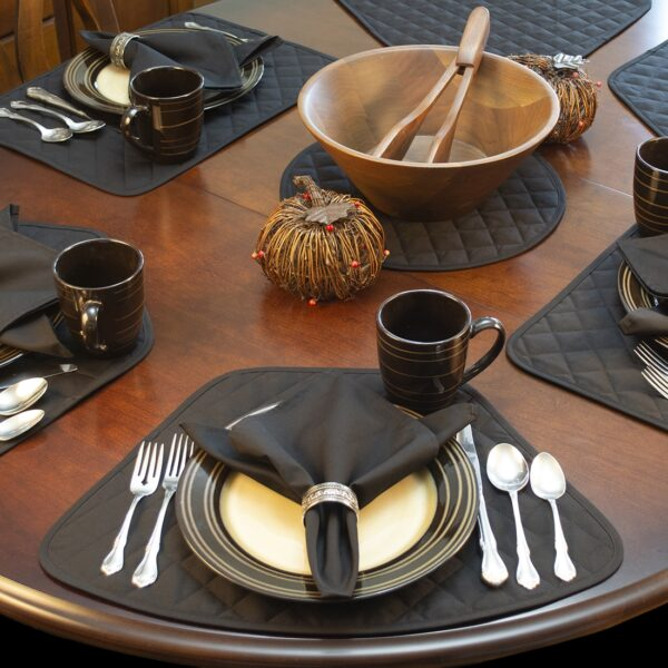 Sweet Pea Linens - Solid Black Quilted Wedge-Shaped Placemats - Set of Four plus Center Round-Charger (SKU#: RS5-1006-Y6) - Alternate Table Setting