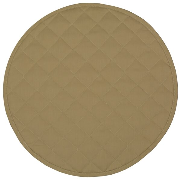 Sweet Pea Linens - Solid Khaki Tan Quilted Charger-Center Round Placemat (SKU#: R-1015-Y7) - Product Image