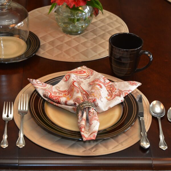 Sweet Pea Linens - Solid Khaki Tan Quilted Charger-Center Round Placemat (SKU#: R-1015-Y7) - Table Setting