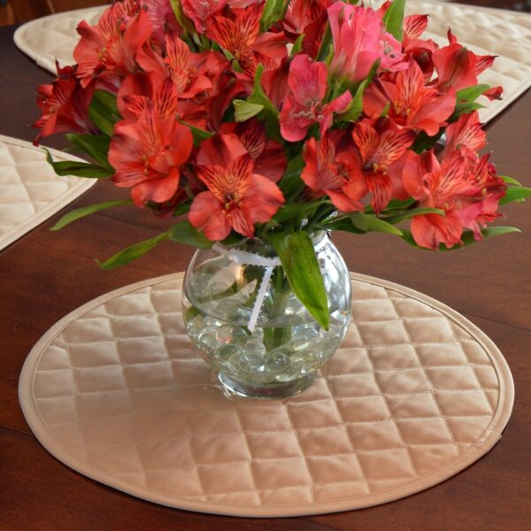 Sweet Pea Linens - Solid Khaki Tan Quilted Charger-Center Round Placemat (SKU#: R-1015-Y7) - Alternate Table Setting