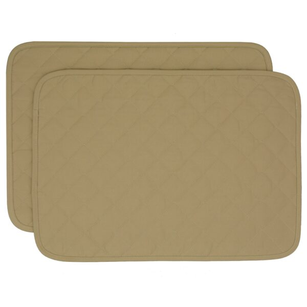 Sweet Pea Linens - Solid Khaki Tan Quilted Rectangle Placemats - Set of Two (SKU#: RS2-1001-Y7) - Product Image